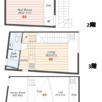 2階からメゾネット+ロフトのお部屋です。
