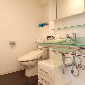 独立洗面台とトイレは同室です※写真は別部屋です