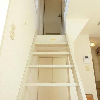 階段上がるとバスルーム
