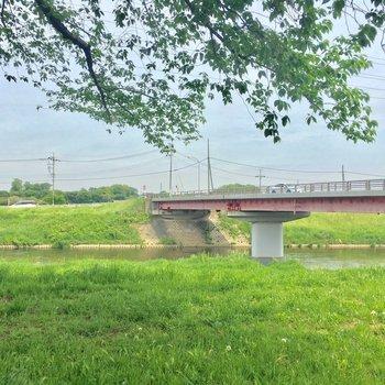 近くに流れる柳瀬川。のどかだ〜!奥には畑も広がります