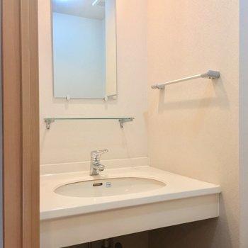 立派な独立洗面台も同じスペースにありました!※クリーニング中の写真です