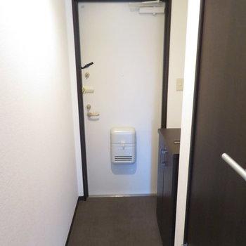 玄関は少しコンパクト。シューズボックスの上に雑貨を置けますよ(※写真は8階の反転間取り別部屋のものです)