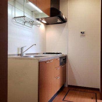 扉の向こう側その2。落ち着いた茶色のキッチン!※写真は前回募集時のものです