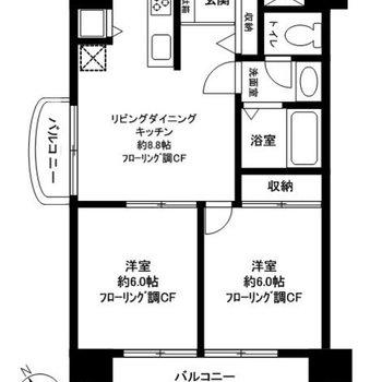 2つのバルコニーと3つのお部屋