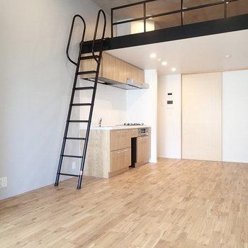 ロフトの黒の素材が良いアクセントに。 ※写真は2階、1Rの別部屋となります。