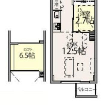 玄関と水回りが2階部分、3階が居室のお部屋です。