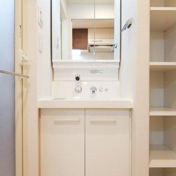 後ろのサニタリールームはドアを開けると独立洗面台がお出迎え。