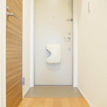 廊下から玄関。この扉からトイレです。