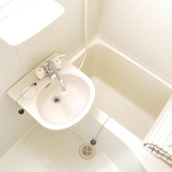 お風呂はコンパクトなタイプです。