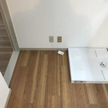 洗濯機は廊下に