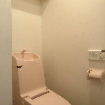 ピ、ピンクのトイレ!!!