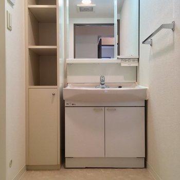 脱衣スペースに立派な独立洗面台!