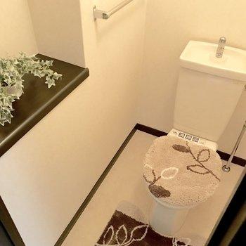 トイレのこの棚、本を置くのにぴったり。※写真は3階の反転間取り別部屋、モデルルームのものです。