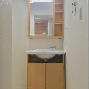 トイレのお隣からサニタリーへ。独立洗面台と・・・
