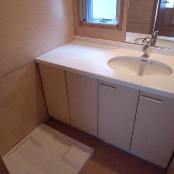 洗面所も広い!洗濯機を置いたらちょっと窮屈か?写真は別部屋同間取りです