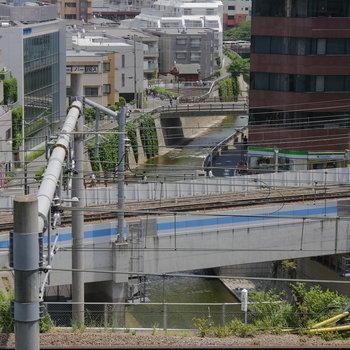 見下ろすと、線路と神田川が行き交います。