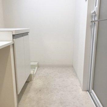 洗面脱衣所のとびらを開けたところ。狭さはありません。(※写真は7階の同間取り別部屋のものです)