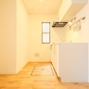 キッチンは背面に冷蔵庫を置く形