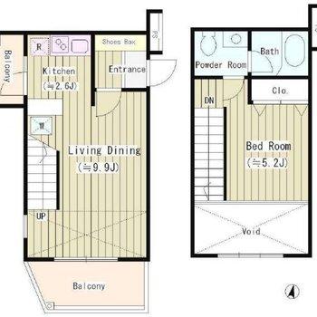 1階が左側!吹き抜けのあるメゾネットのお部屋です。