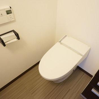トイレは脱衣所内ですが、スッキリ収まっています。