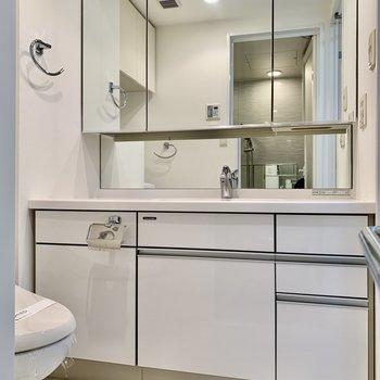 洗面台は鏡が大きくて使いやすそう。※写真は前回募集時のものです