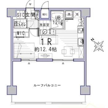 お部屋の広さがほとんど変わらないルーフバルコニー付き!
