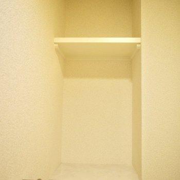 棚もついているので、トイレットペーパーなどもご収納下さい♪(※写真は6階の同間取り別部屋のものです)