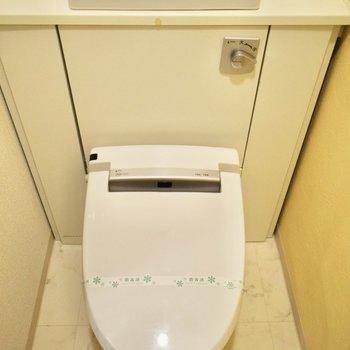トイレはウォシュレット付!水道の近くには、観葉植物など香りものを飾ってもいいですね!(※写真は6階の同間取り別部屋のものです)