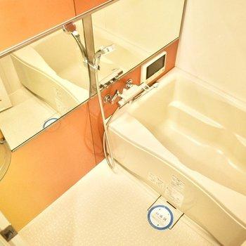 広々とした湯船に浸かり、鏡を見ながらマッサージでも♪(※写真は6階の同間取り別部屋のものです)