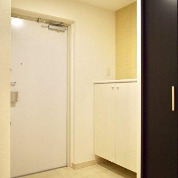 この大理石のような床は、脱衣所、トイレもお揃いです♪(※写真は6階の同間取り別部屋のものです)