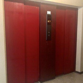 そうそう、このエレベーターの赤色を見て、口紅の最終確認を思い出す。