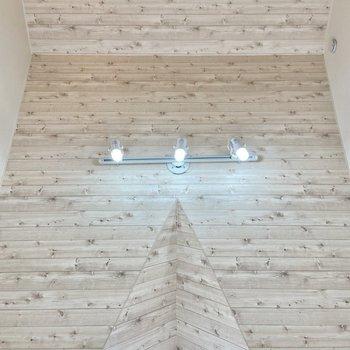 天井を見上げると木目調にスポットライトがかわいい!