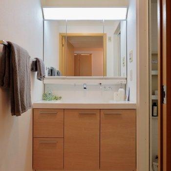 独立洗面台大きい!※写真は反転間取りのモデルルームです。