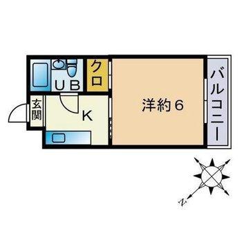 6帖の1Kのお部屋。