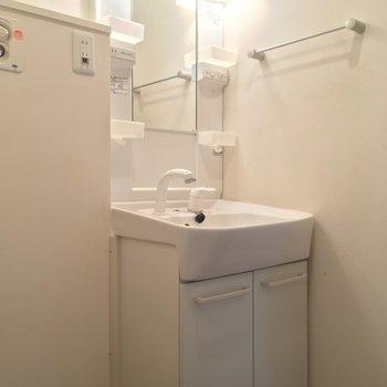 独立洗面台も立派です(1階廊下)