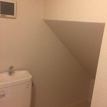 トイレ脇・隠し収納スペース!