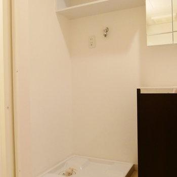 洗面台のお隣に洗濯機置場。