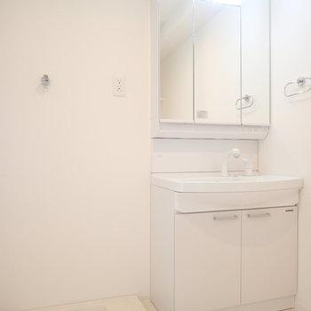 洗面台は使いやすい大きめタイプ。