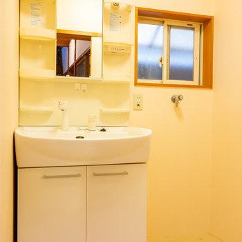 独立洗面台と洗濯機置場はまとまって。ここにも窓!