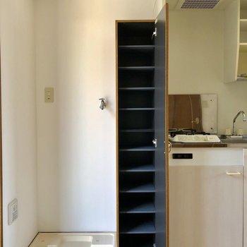 ながーい、シューズボックスの棚はありがたい可動棚です。※電気がつく前の写真