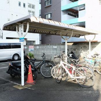 自転車、バイク置き場は屋根付きで◎