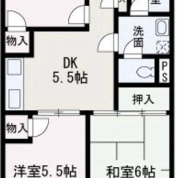 同じくらいの広さのLDK、和室、洋室です。