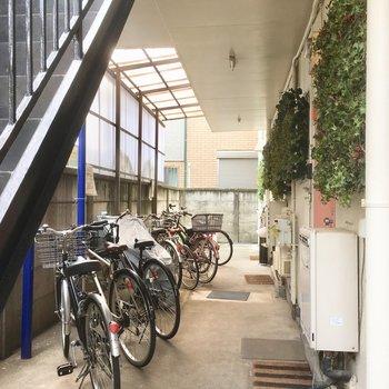自転車置き場もあるんです。