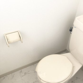 トイレも白いので清潔感があります。