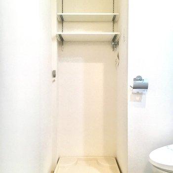 同じスペースに洗濯機置き場もあります。可動式の棚が嬉しい。