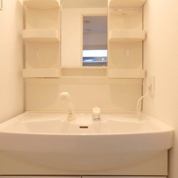収納部が多い洗面台。※写真は10階の同間取り別部屋のものです