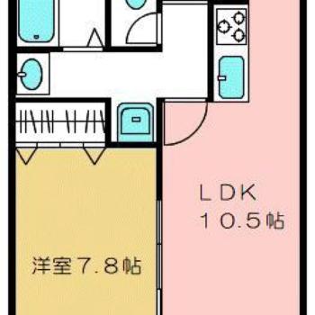 間取りは便利な1LDK ※廊下の水回り手前には引き戸がございます。