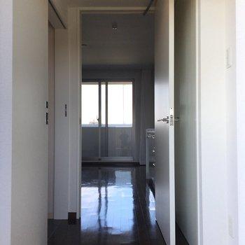 玄関からの眺め。ガラス戸から向こうの景色が見えますね。※写真は6階、同間取りの別部屋です。