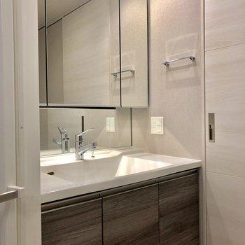 収納豊富な洗面台です※写真は1階同間取りの別部屋のものです