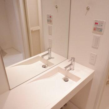洗面台、硯みたいでおしゃれ。※写真は1階の同間取り別部屋のものです